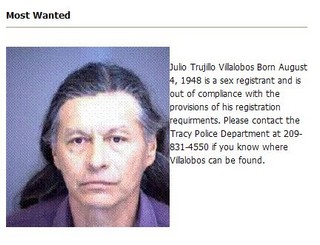 Sex Offender Makes Wanted List. There is only one Individual on Tracy Police ...